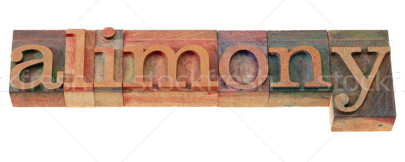 alimony word in letterpress type Stock photo © PixelsAway