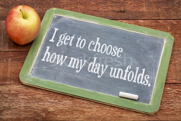 Positive affirmation phrase on blackboard Stock photo © PixelsAway