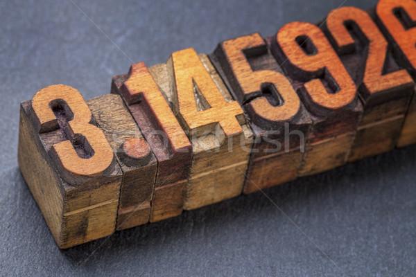 Сток-фото: числа · pi · древесины · тип · численный · Vintage
