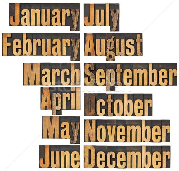 Maand hout type 12 maanden Stockfoto © PixelsAway
