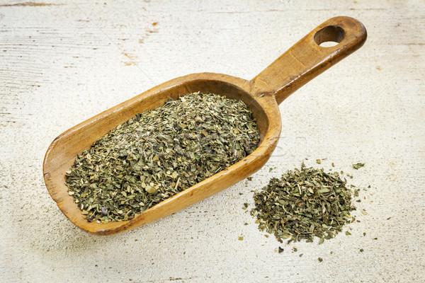 Merítőkanál borsmenta tea organikus gyógynövény tea rusztikus Stock fotó © PixelsAway