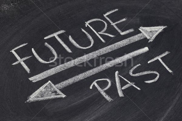 Gelecek geçmiş beyaz tebeşir el yazısı çizim Stok fotoğraf © PixelsAway