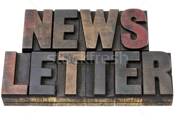Bülteni grunge ahşap tip yalıtılmış kelime Stok fotoğraf © PixelsAway