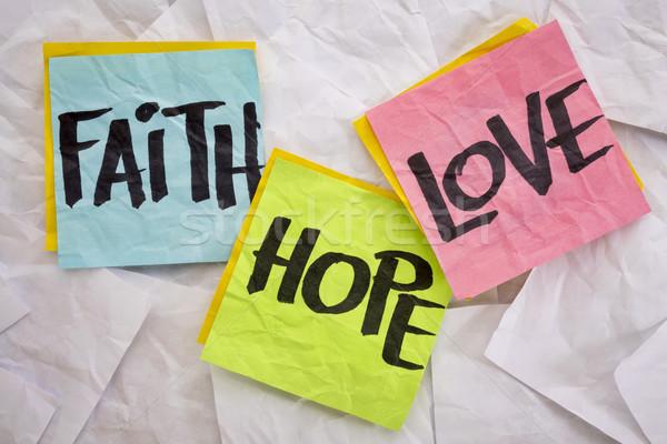 Glauben Liebe Hoffnung farbenreich Haftnotizen weiß Stock foto © PixelsAway