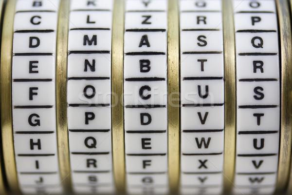 Focus wachtwoord combinatie puzzel vak woord Stockfoto © PixelsAway
