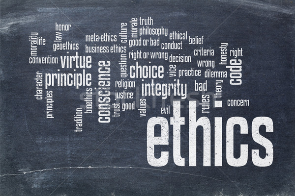 ethics word cloud on blackboard Stock photo © PixelsAway