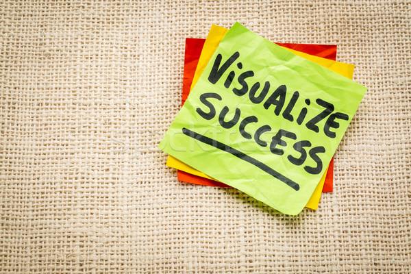 Siker tanács öntapadó jegyzet kézírás zsákvászon vászon Stock fotó © PixelsAway