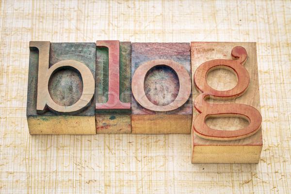 Blog szó magasnyomás fa foltos Stock fotó © PixelsAway