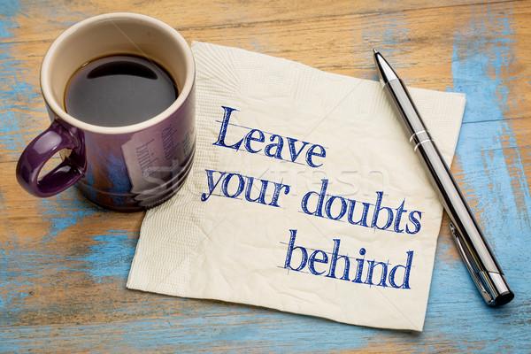 Abschied Zweifel hinter Handschrift Serviette Tasse Stock foto © PixelsAway