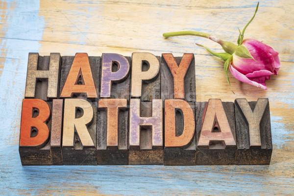 Happy Birthday in wood type Stock photo © PixelsAway