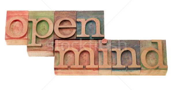 open mind in letterpress type Stock photo © PixelsAway