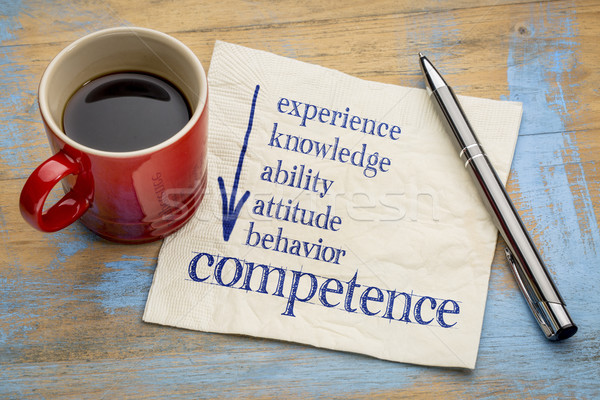 competence concept on napkin with coffee Stock photo © PixelsAway