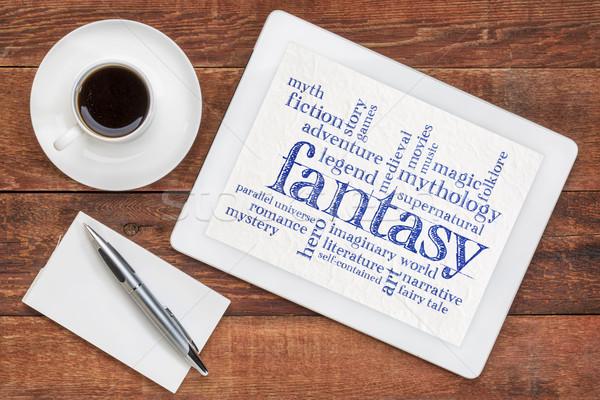 фантазий слово облако таблетка цифровой Кубок кофе Сток-фото © PixelsAway