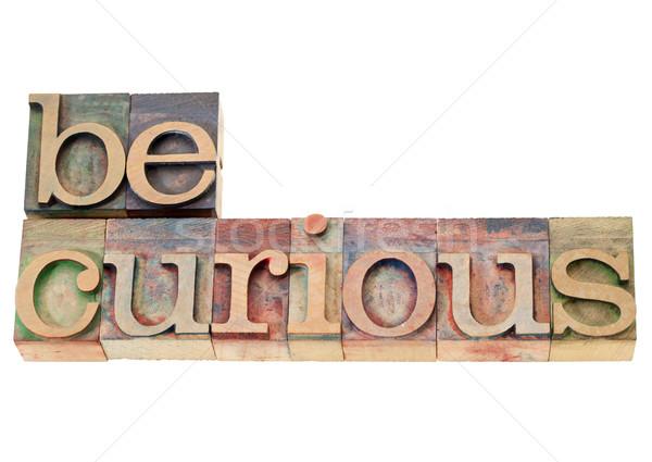 Ciekawy sugestia odizolowany tekst vintage drewna Zdjęcia stock © PixelsAway