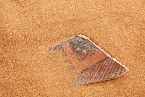 Cserépedények piros homok ősi eltemetett sivatag Stock fotó © PixelsAway