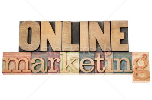 Online marketing hout type geïsoleerd tekst vintage Stockfoto © PixelsAway