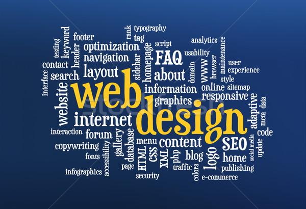 Web tasarım kelime bulutu mavi bilgisayar ekranı dizayn arama Stok fotoğraf © PixelsAway