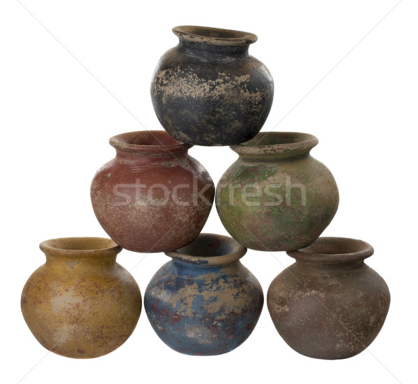 six clay plant pots stacked in a pyramid Stock photo © PixelsAway