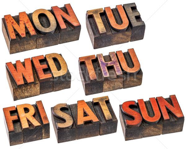 Week hout type ingesteld 7 dagen eerste Stockfoto © PixelsAway
