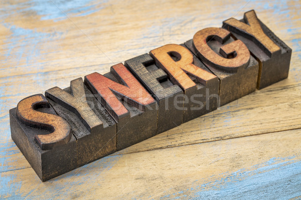 synergy word in wood type Stock photo © PixelsAway