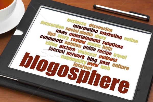 blogosphere word cloud on tablet Stock photo © PixelsAway