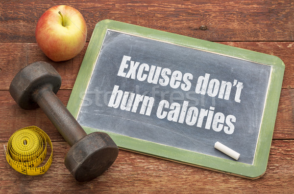No calorías fitness ejercicio pizarra Foto stock © PixelsAway