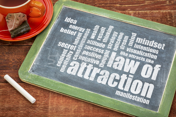law of attraction word cloud on blackboard Stock photo © PixelsAway
