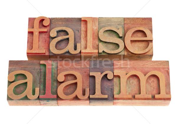 Fałszywy alarm słowa vintage drewna Zdjęcia stock © PixelsAway