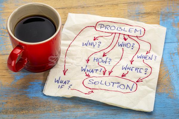 Problema preguntas solución servilleta lluvia de ideas la toma de decisiones Foto stock © PixelsAway