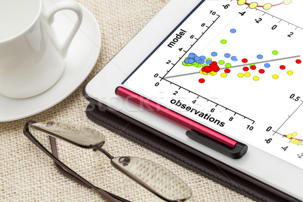 model and observation data correlation graph on tablet Stock photo © PixelsAway