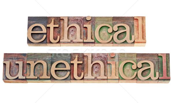 ético palavras madeira tipo isolado texto Foto stock © PixelsAway