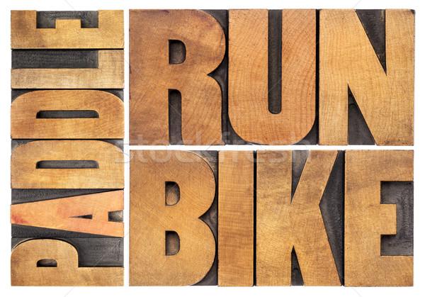 Correr bicicleta triathlon isolado palavra Foto stock © PixelsAway