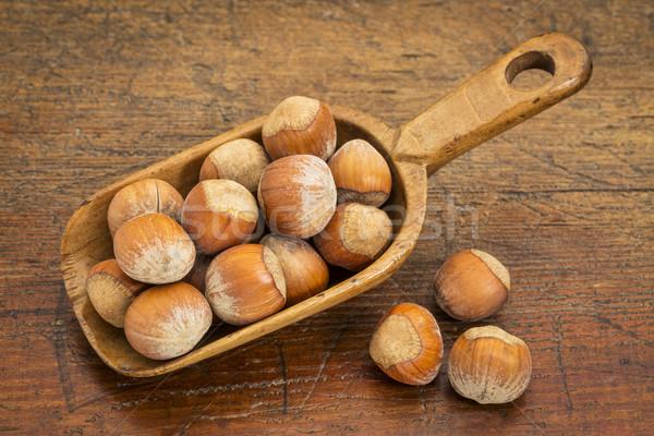 hazelnuts in rustic scoop Stock photo © PixelsAway