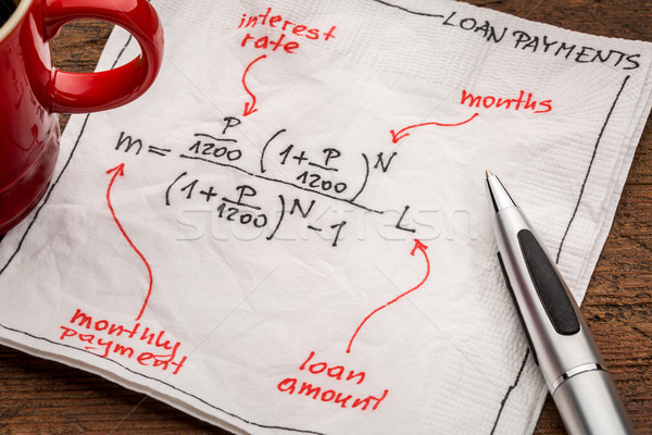 loan payment equation on napkin Stock photo © PixelsAway