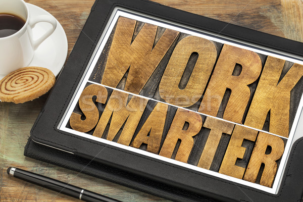 work smarter- wood type text on tablet Stock photo © PixelsAway
