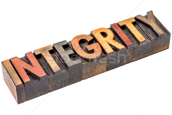 integrity in vintage wood type Stock photo © PixelsAway