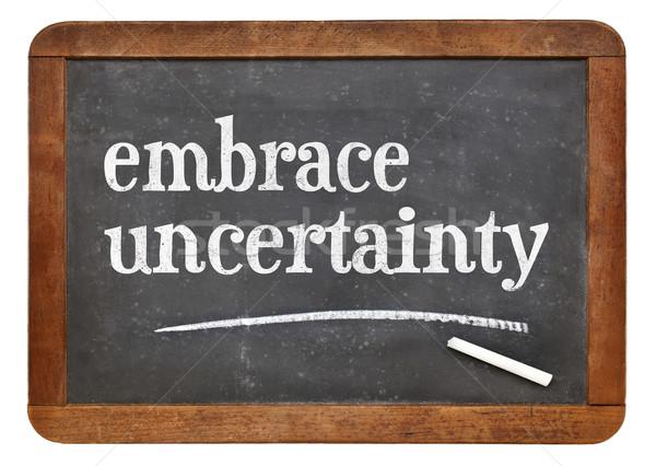 Unsicherheit Tafel Zeichen weiß Kreide Stock foto © PixelsAway