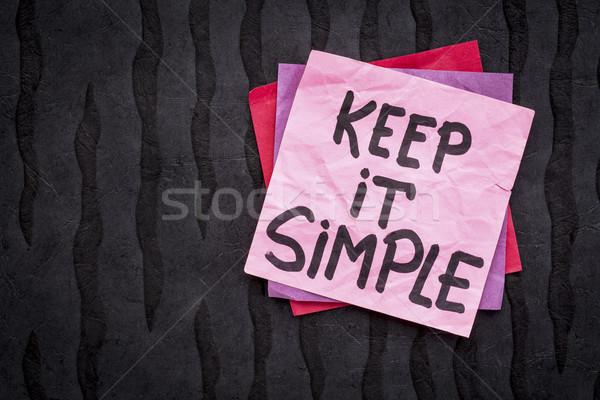 Simple recordatorio consejo escritura nota adhesiva negro Foto stock © PixelsAway