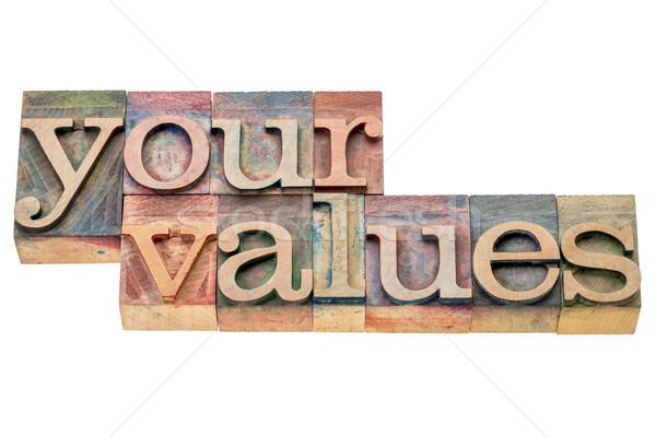 értékek szó absztrakt izolált magasnyomás fa Stock fotó © PixelsAway