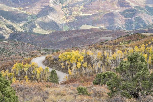 Coffee Pot road with golden aspen Stock photo © PixelsAway