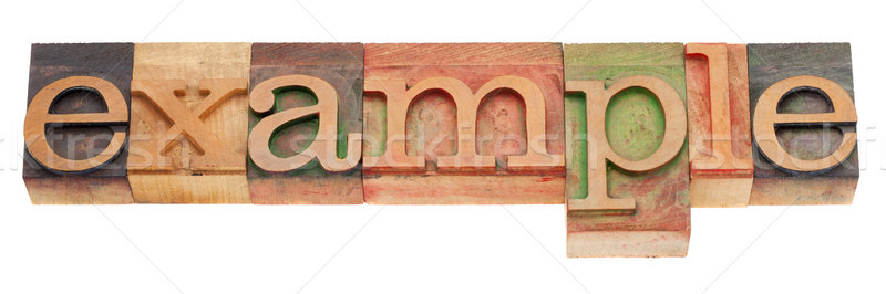 Stock photo: example word in letterpress type