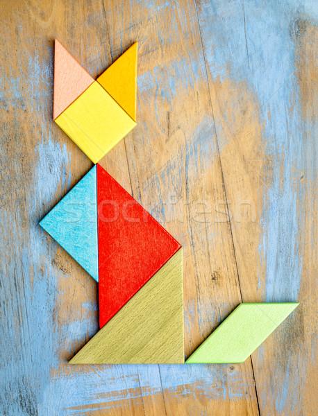 cat figure - tangram abstract Stock photo © PixelsAway