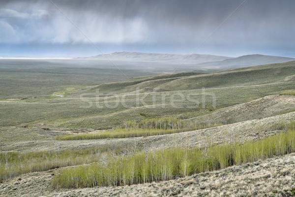 Eső viharfelhők észak park tavasz díszlet Stock fotó © PixelsAway