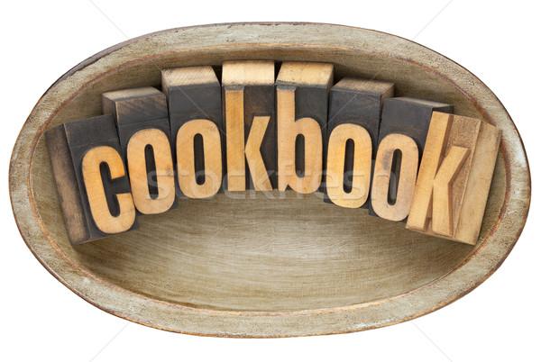 Yemek kitabı ahşap çanak kelime bağbozumu Stok fotoğraf © PixelsAway