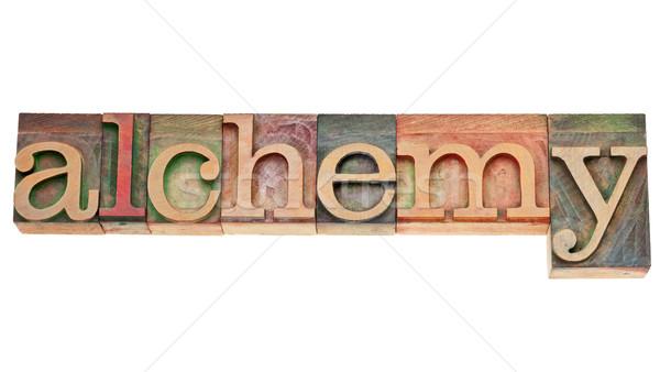 Simya kelime ahşap tip yalıtılmış bağbozumu Stok fotoğraf © PixelsAway