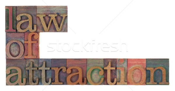 Törvény attrakció szavak klasszikus fából készült magasnyomás Stock fotó © PixelsAway
