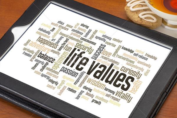 élet értékek szófelhő digitális tabletta csésze Stock fotó © PixelsAway