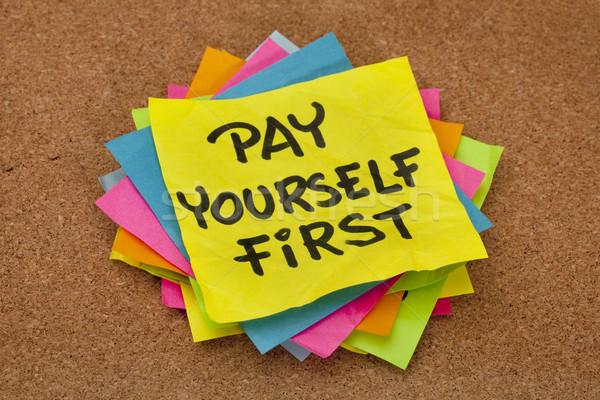 себя первый напоминание личные Финансы Сток-фото © PixelsAway