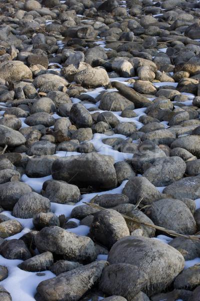 Asciugare fiume letto inverno ciottoli fango Foto d'archivio © PixelsAway