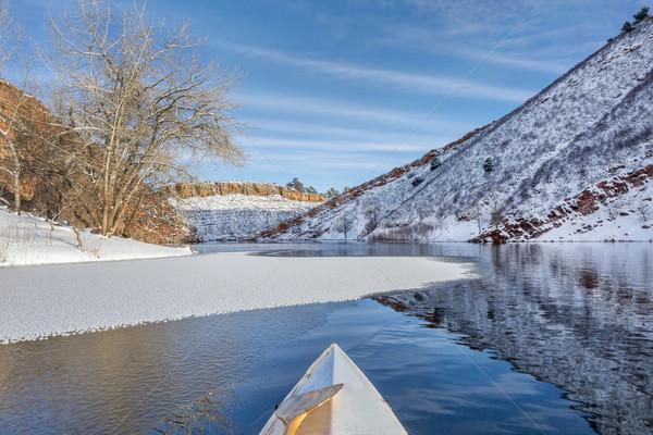 winter canoe paddling Stock photo © PixelsAway